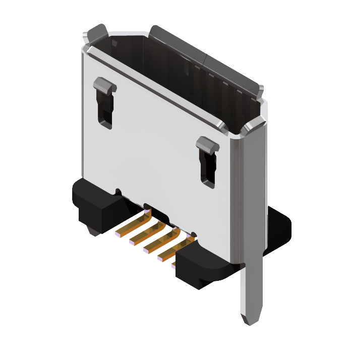Vertical Micro USB Receptacle SMT short stakes