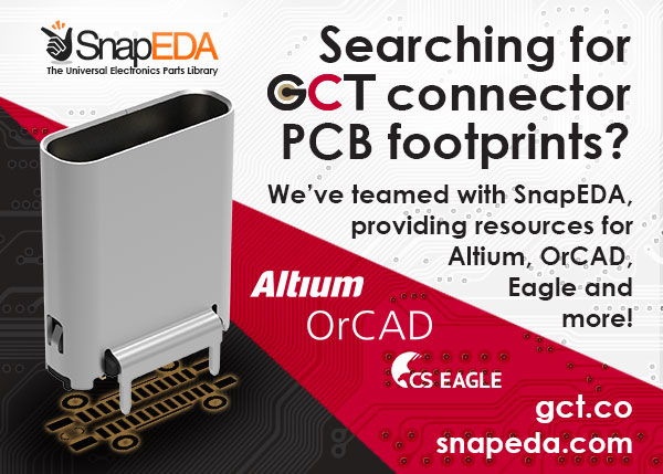 GCT Connector PCB footprints and more available with SnapEDA