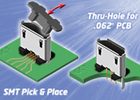 Vertical µUSB2 Connectors – SMT & Thru Hole Types