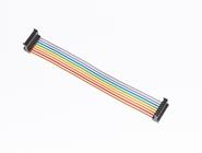 HE13 IDC socket assembly on multi coloured ribbon cable