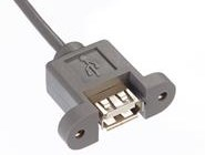 USB2.0 Type A receptacle, panel mount with custom overmold, threaded inserts